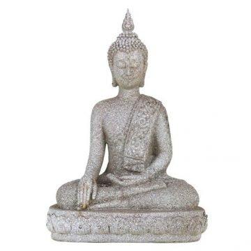 Boeddhabeeld Thais handreiking aarde steengrijs