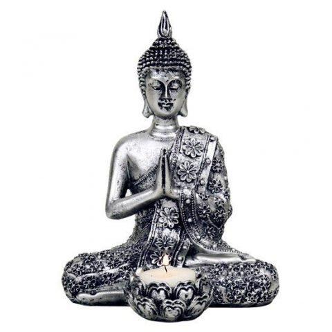 Boeddha met kaarshouder zilverkleurig