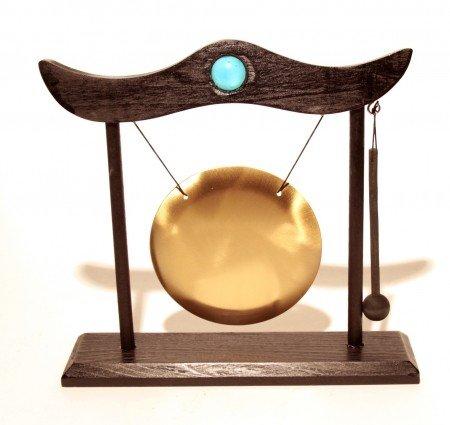 Tafelgong met klopper en houten frame
