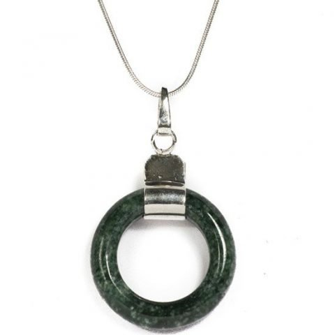 Hanger jade ring donkergroen