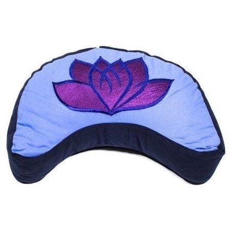 Meditatiekussen violet/blauw lotus halve maan geborduurd