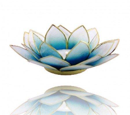 Lotus sfeerlicht blauw/wit 2-kleurig goudrand
