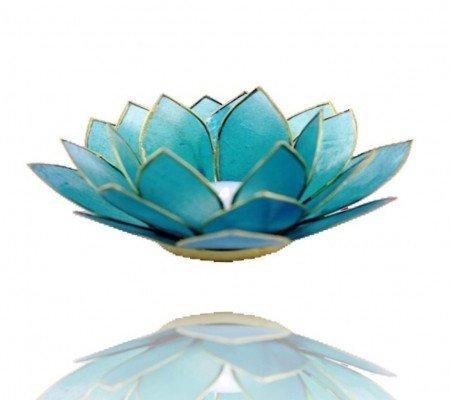 Lotus sfeerlicht blauw 5e chakra goudrand