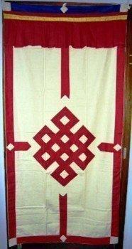 Tibetaans deurkleed rood/ecru