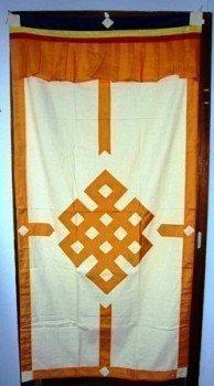 Tibetaans deurkleed geel/ecru