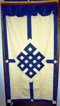 Tibetaans deurkleed blauw/ecru