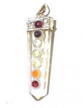 Chakra hanger bergkristal met 7 halfedelstenen