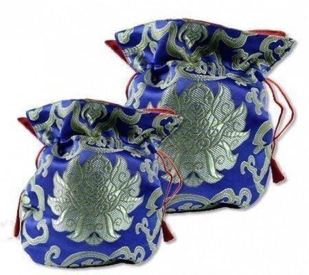Brokaattasje lotus blauw