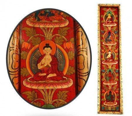 5 Boeddha's handbeschilderd paneel rood