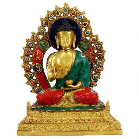 Boeddha Shakyamuni op troon met mozaļek decoratie
