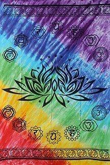 Wandkleed lotus met zeven chakrakleuren