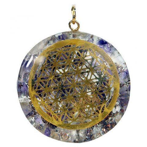 Orgon hanger Flower of life amethist en bergkristal