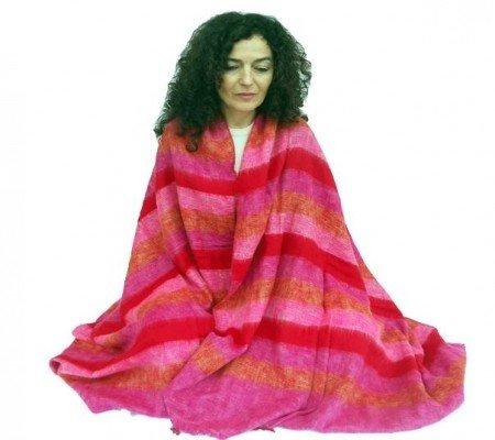 Meditatiedeken XL rood/roze/oranje