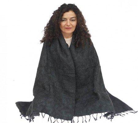 Meditatie omslagdoek effen antraciet