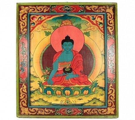 Medicijn Boeddha Handbeschilderd hout paneel