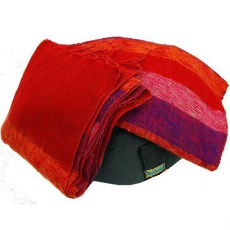 Meditatie omslagdoek rood met strepen