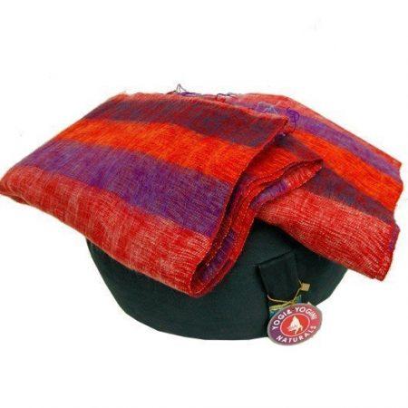 Meditatie omslagdoek paars met strepen