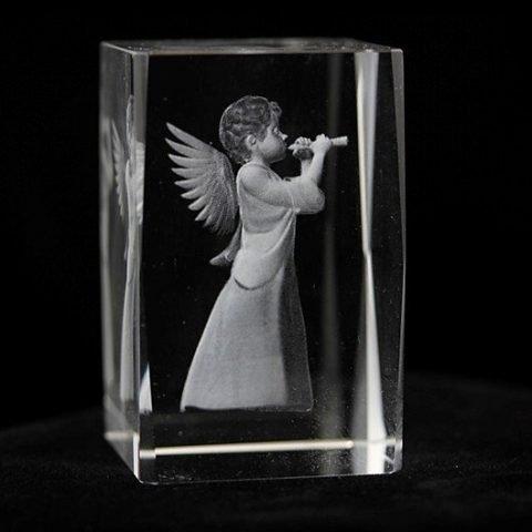 Kristal laser Engel met fluit rechthoekig