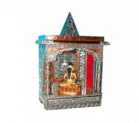 Huisaltaar (Mandir) hout/aluminium/koper