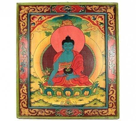 Handbeschilderd paneel hout Medicijn Boeddha