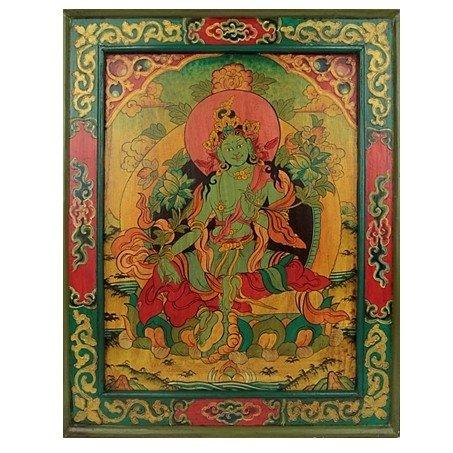 Groene Tara Handbeschilderd hout paneel