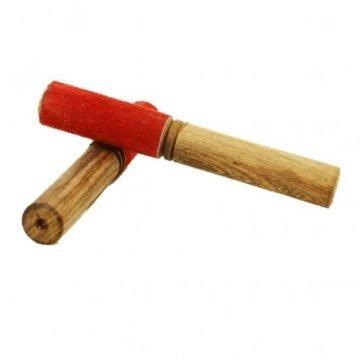 Klankschaal aanstrijkhout met suède rood
