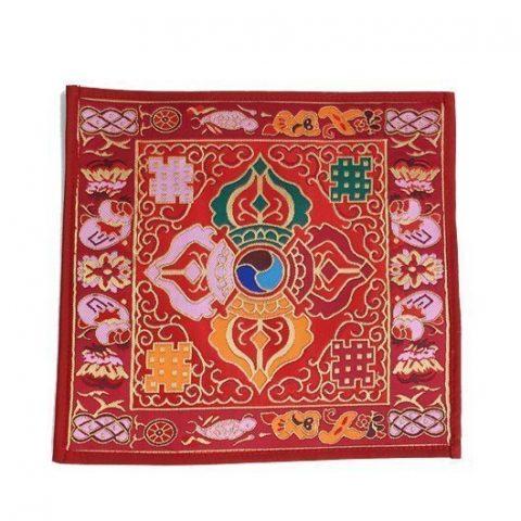 Klankschaal/altaarkleed Dubbele Dorje brokaat