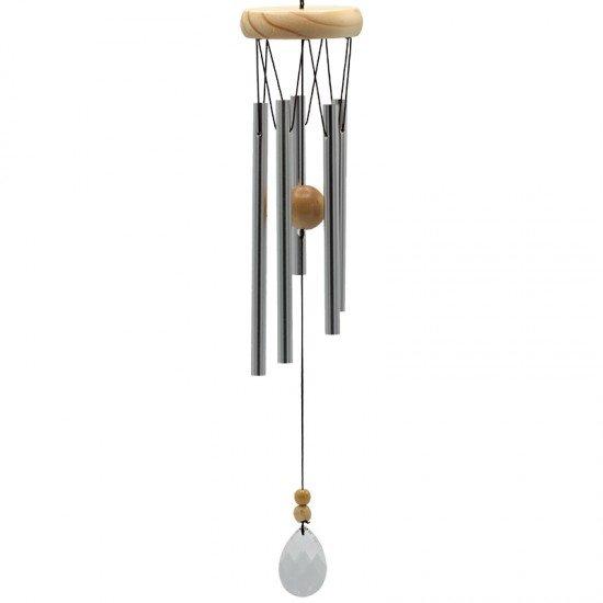 Windorgel met vijf staafjes - hout met kristallen windvanger