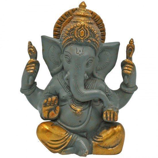 Ganesha grote oren - grijs met gouden finish
