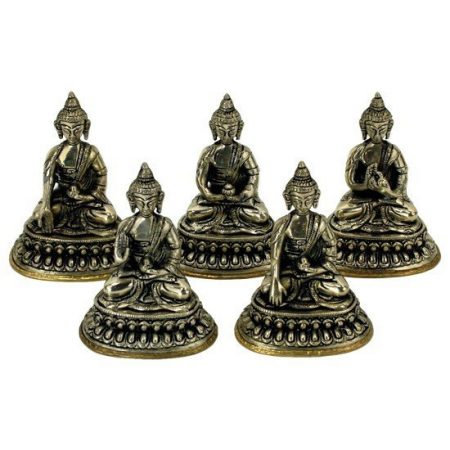 Set 5 Dhyani Boeddha beeldjes witmetaal