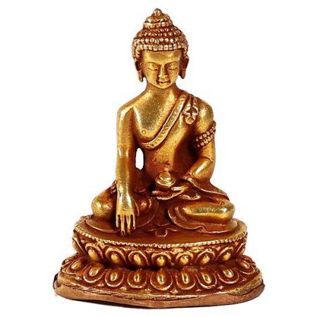 Minibeeldje Shakyamuni Boeddha goud vuur verguld