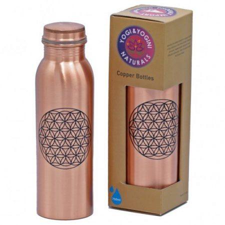 Koperen fles met schroefdop - Bloem des Levens - geprint
