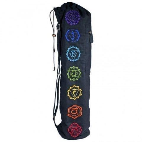 Yogamat tas met trekkoord zwart 7 Chakra's