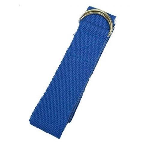 Yoga riem D-ring blauw katoen